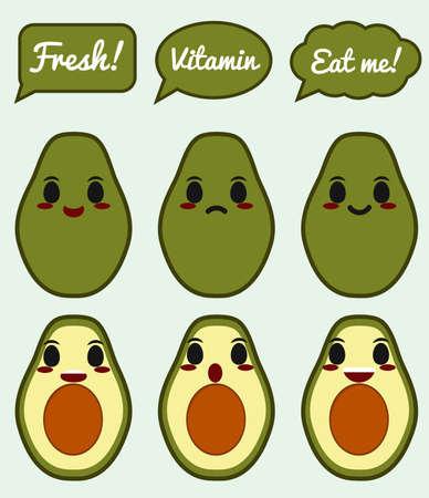 Avocado character 矢量图像