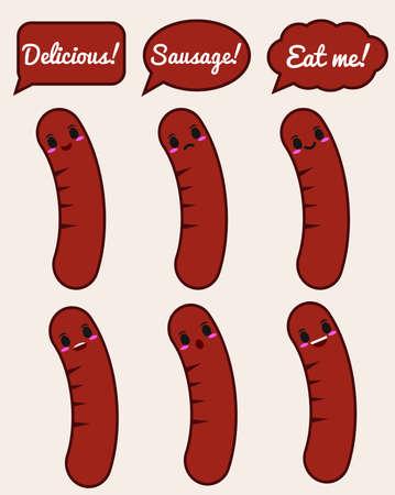 Sausage character 矢量图像