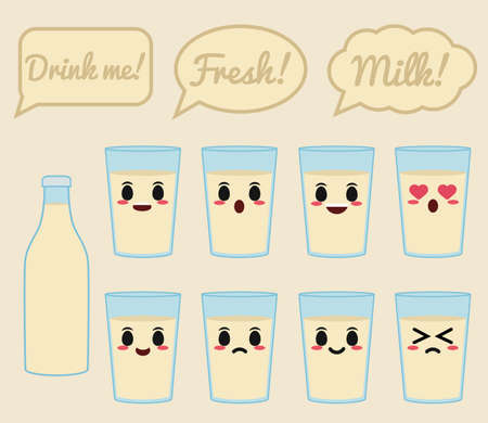 soy bean: Soy milk character Illustration