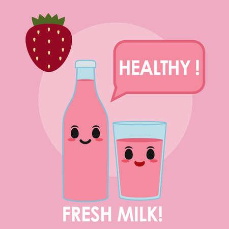 Strawberry milk illustration
