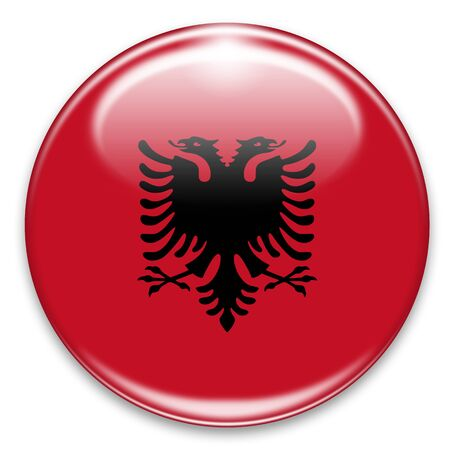 albanian flag button isolated on white photo