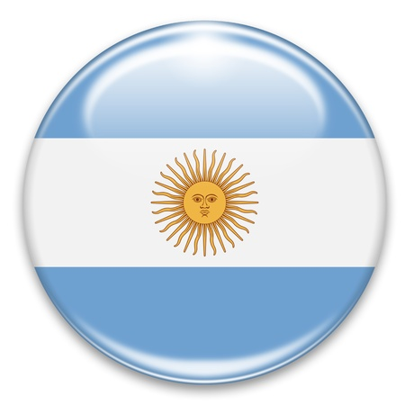 bandera argentina: botón de la bandera argentina aislado en blanco Foto de archivo