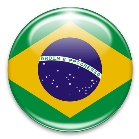 rounded circular: brazilian flag button isolated on white Stock Photo