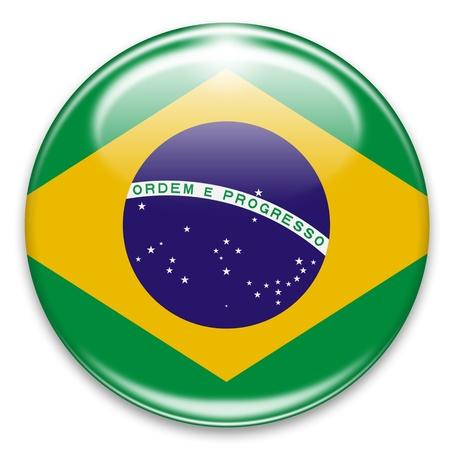 brazil flag: brazilian flag button isolated on white Stock Photo
