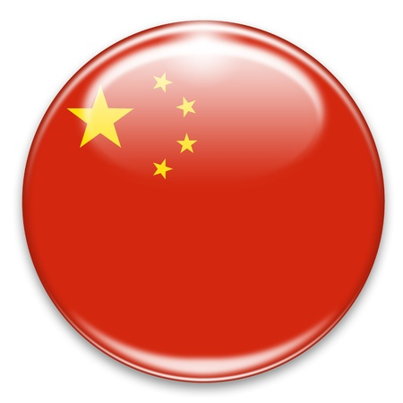 chineese  flag button isolated on white