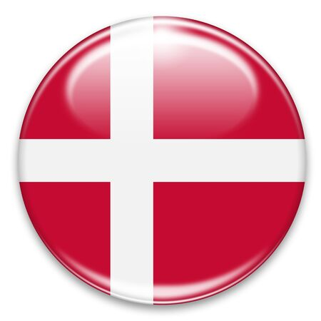 danish flag button isolated on white Stock Photo