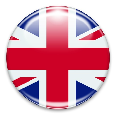 bandera uk: botón de bandera británica aislado en blanco Foto de archivo