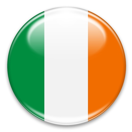 irish symbols: irish flag button isolated on white Stock Photo
