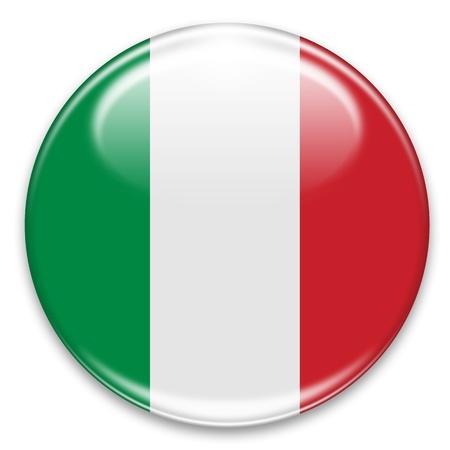 bandiera italiana: pulsante di bandiera italiana isolato su bianco