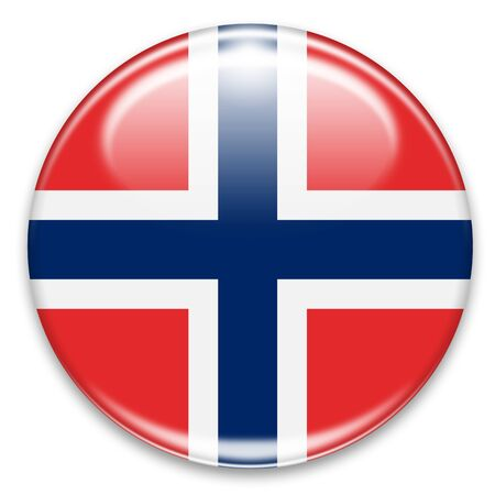 norwegian flag button isolated on white photo
