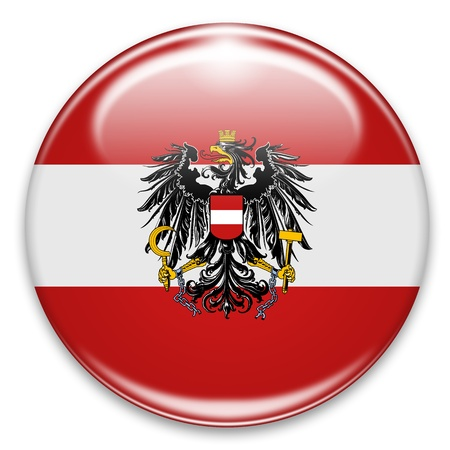 autrian flag button isolated on white photo