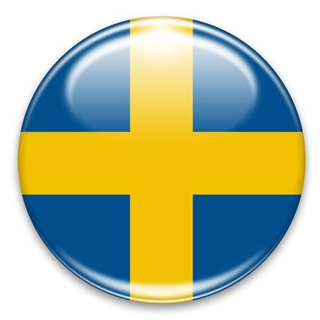 swedish flag button isolated on white photo