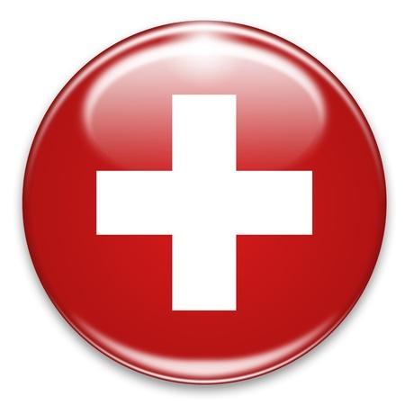 cruz roja: botón de la bandera suiza aislada en blanco Foto de archivo