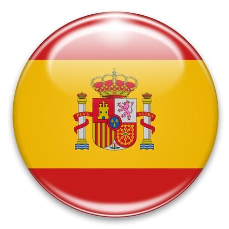 白で隔離されるスペインのフラグ ボタン 写真素材
