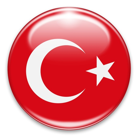 turkish flag: turkish flag button isolated on white Stock Photo