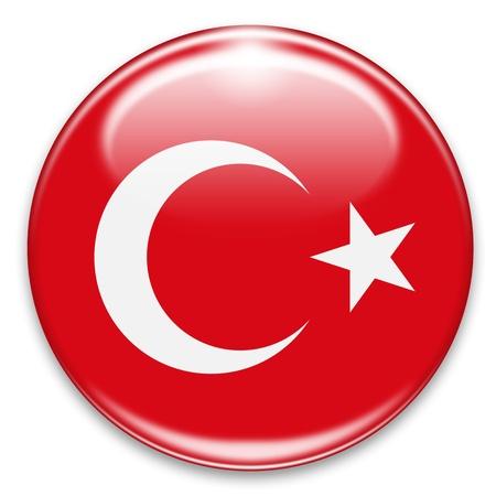 bouton drapeau turc isolé sur blanc