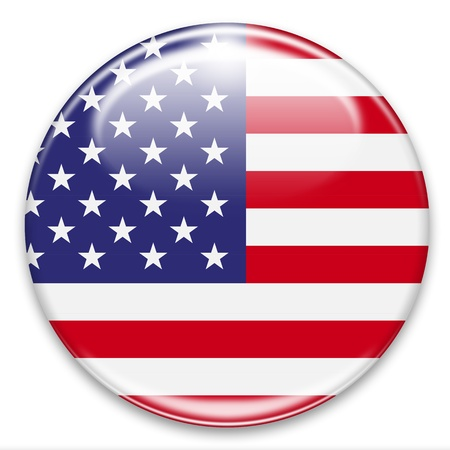 american flag button isoalted on white photo