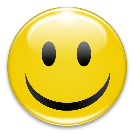 happy smiley button on white background photo