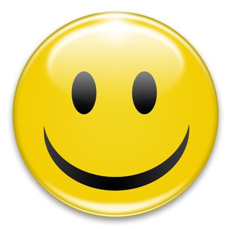happy smiley button on white background