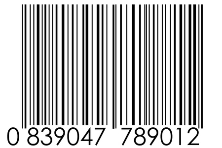 barcode scanner: black barcode with numbers on white background