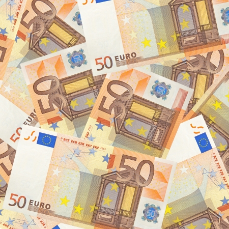 fifty euro banknotes mixed jumbled photo