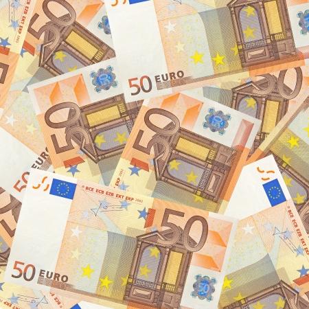 bedlam: fifty euro banknotes mixed jumbled