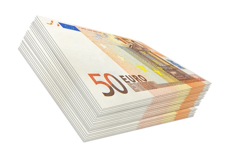 batch of euro: fifty euro wad of cash in perspective isolated on white Stock Photo
