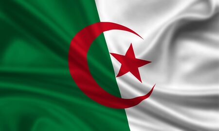waving flag of algeria Stock Photo - 15250959