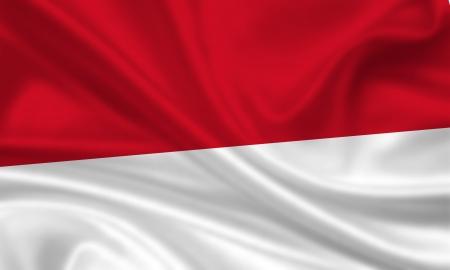 waving flag of indonesia / monaco