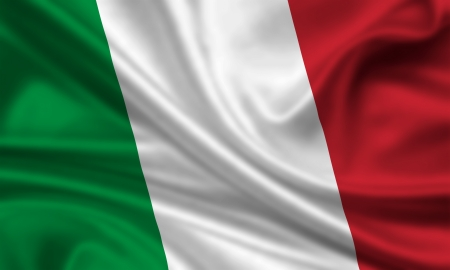 the italian flag: bandera que agita de Italia