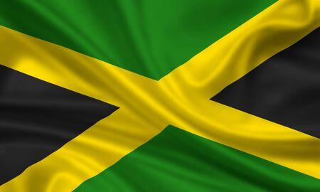 waving flag of jamaica Stock Photo - 15251124