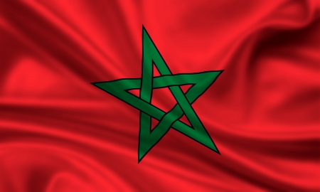 waving flag of morocco Banque d'images