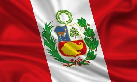 waving flag of peru Stock Photo - 15251177