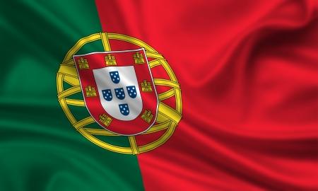 waving flag of portugal Banque d'images