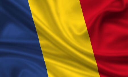 waving flag of romania Banque d'images