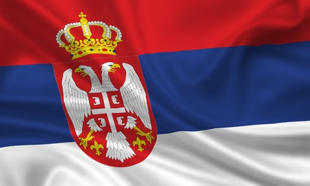 waving flag of serbia photo