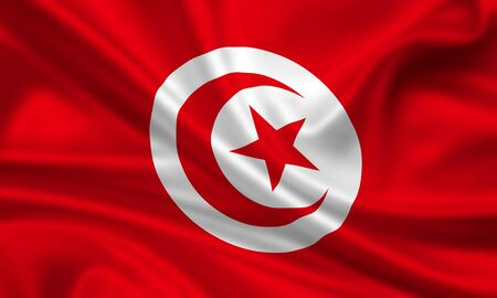 waving flag of tunisia photo