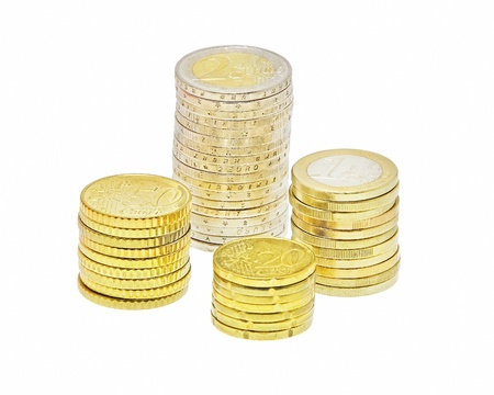 batch of euro: four stacks of euro coins isolated on white background Stock Photo