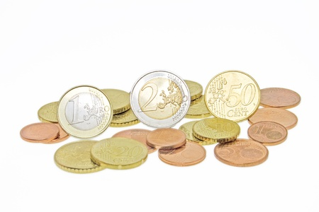 batch of euro: euro coins isolated on white background Stock Photo