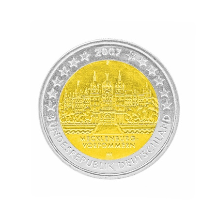 batch of euro: two euro coin backside isolated on white background