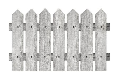 stockade: garden fence with planks isolated on white background