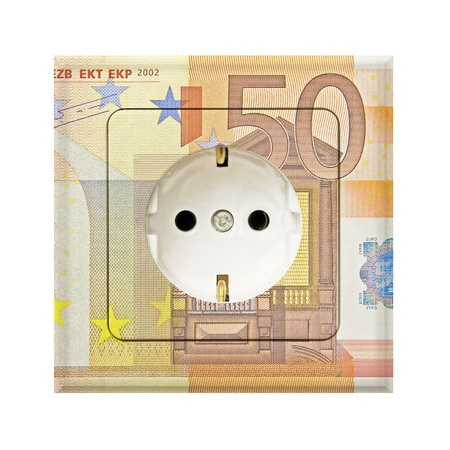 combines: fifty euro banknote combines with a electric socket