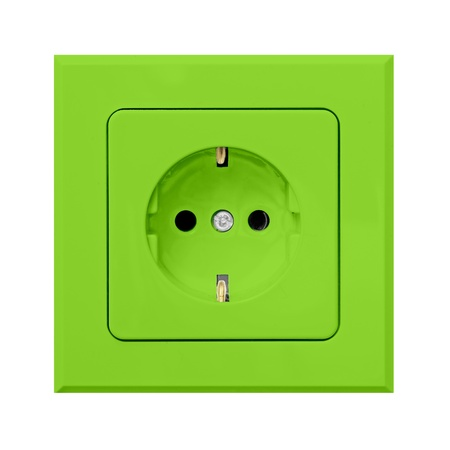 green power outlet isolated on white background photo