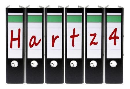 hartz 4: folders labeled with the german word Hartz 4 welfare
