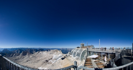 zugspitze mountain: M�nchner Haus at the Zugspitze, mountain in the Alps, Border Germany and Austria Stock Photo