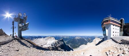 zugspitze mountain: Zugspitze, mountain in the Alps, Border Germany and Austria Stock Photo