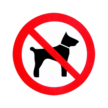 No dogs sign isolated on white background                                photo