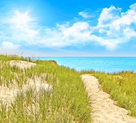 Pad naar de Baltische zee op een zonnige dag Stockfoto