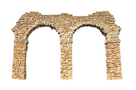 stone arch (remains of an aqueduct), isolated on white background  Stock Photo