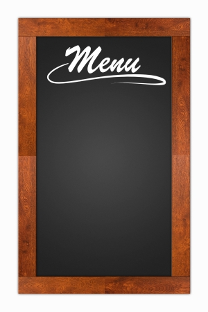 Menu written on a blank blackboard with wooden frame isolated on white background photo